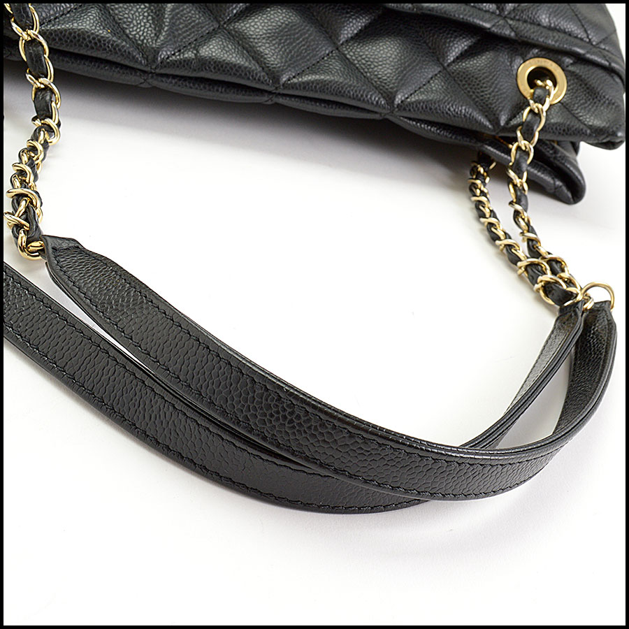 RDC10674 Chanel Black Quilted Caviar Leather Shopper Chain Tote handle