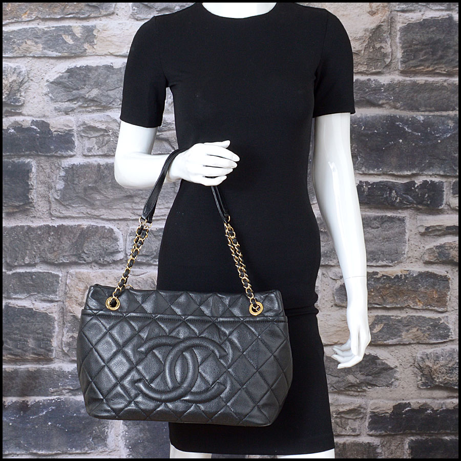 RDC10674 Chanel Black Quilted Caviar Leather Shopper Chain Tote model