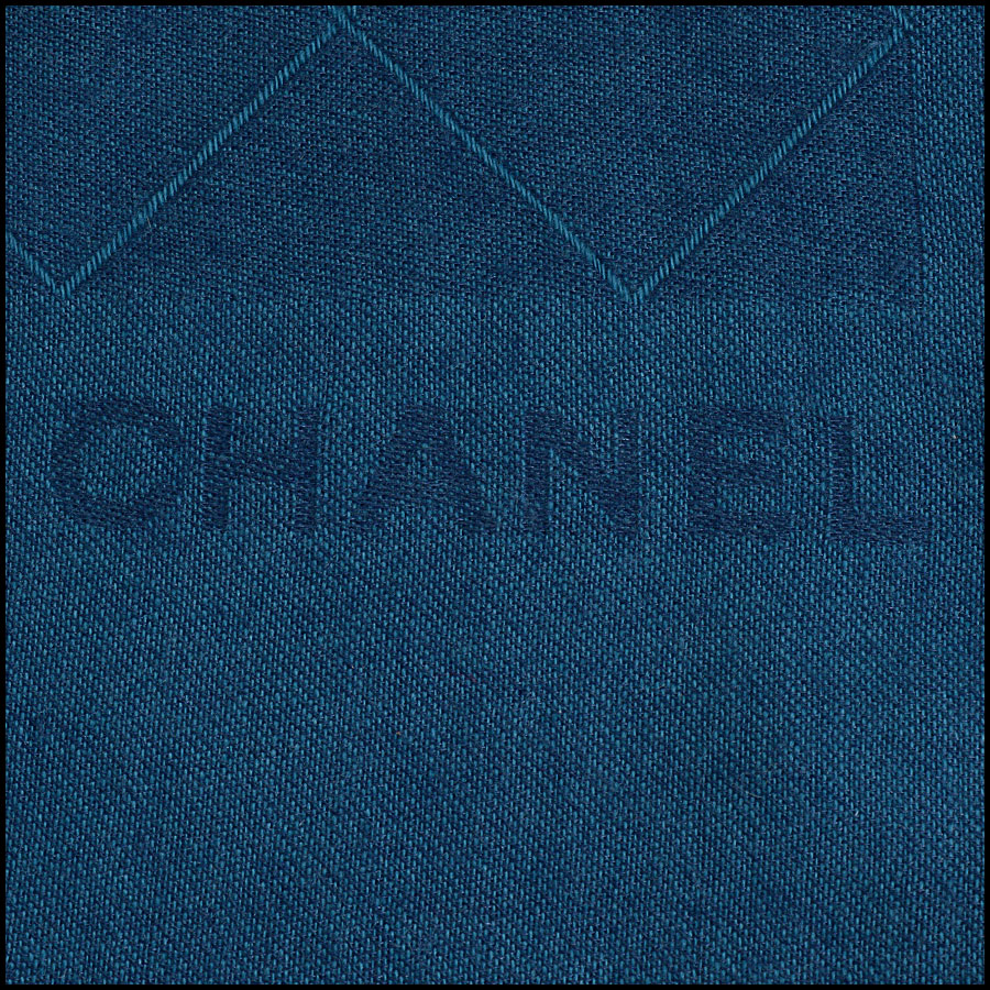 RDC10324 Chanel Teal Blue Cashmere/Silk Fringed Wrap logo