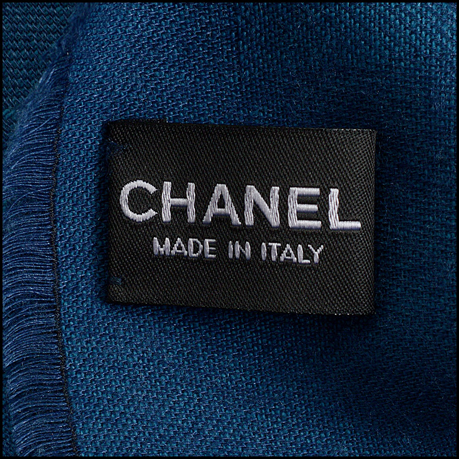 RDC10324 Chanel Teal Blue Cashmere/Silk Fringed Wrap tag 2