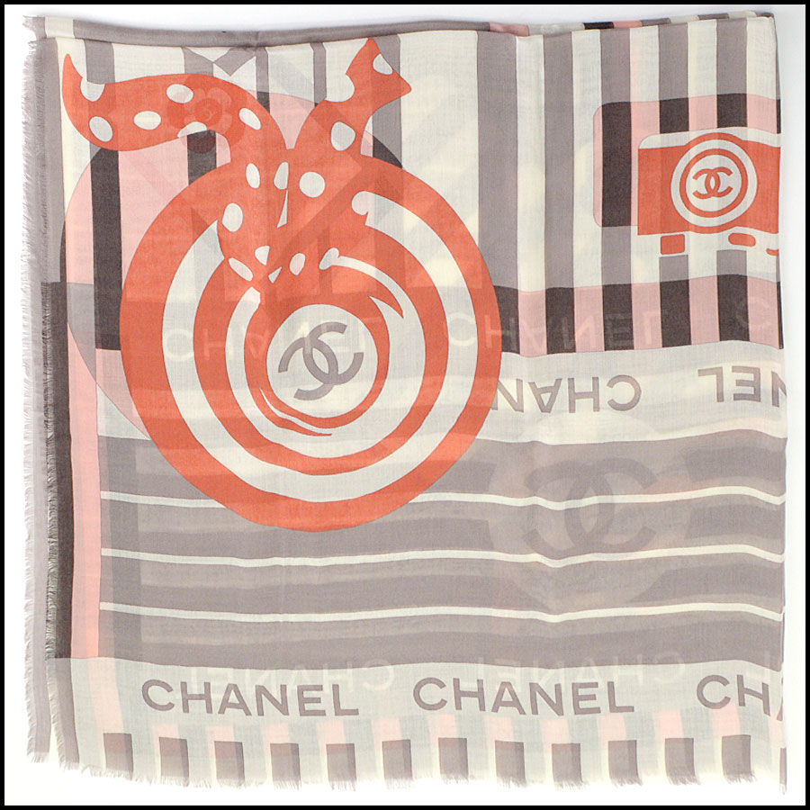 RDC11100 Chanel Taupe/Ivory/Peach Cashmere/Silk Scarf Wrap