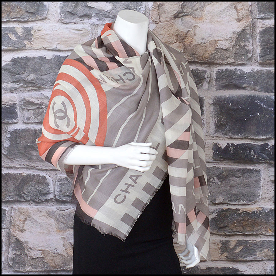 RDC11100 Chanel Taupe/Ivory/Peach Cashmere/Silk Scarf Wrap model