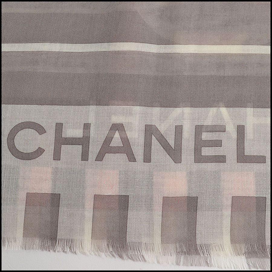 RDC11100 Chanel Taupe/Ivory/Peach Cashmere/Silk Scarf Wrap signature
