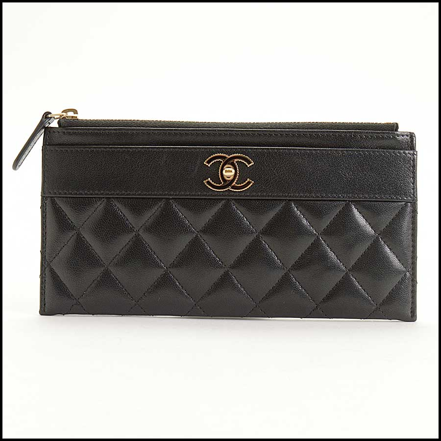 RDC11338 Chanel Black Quilted Leather Flat Wallet