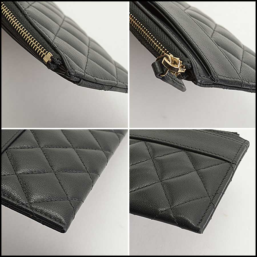 RDC11338 Chanel Black Quilted Leather Flat Wallet corners