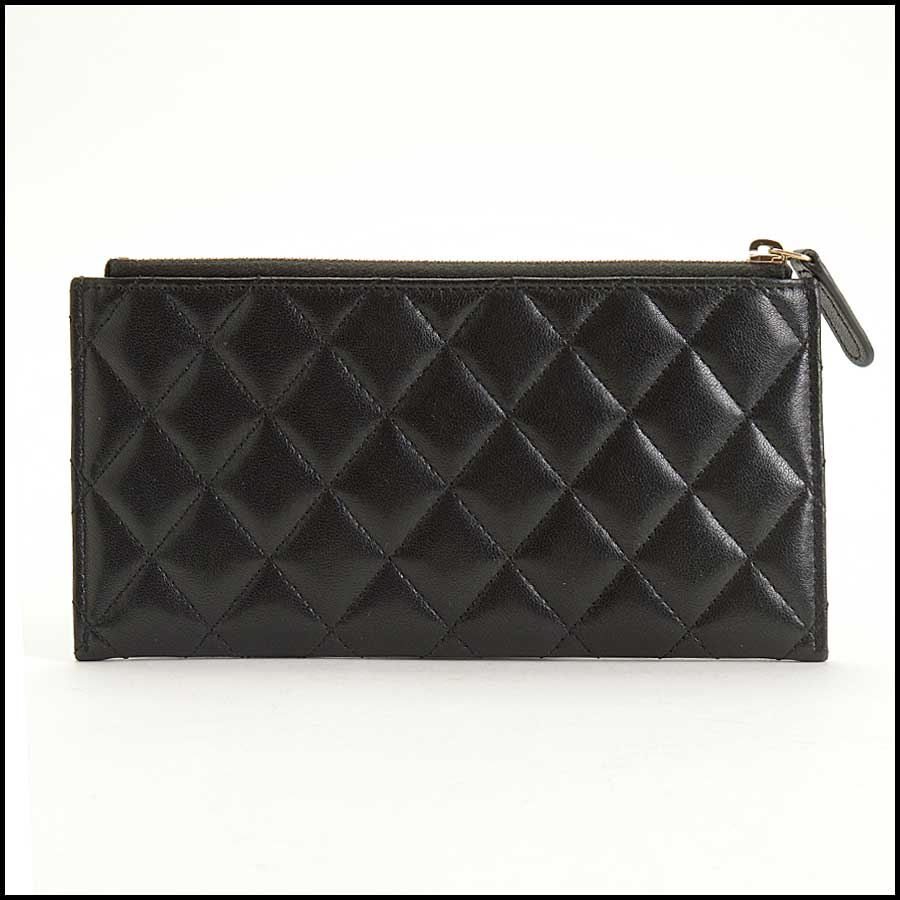 RDC11338 Chanel Black Quilted Leather Flat Wallet back