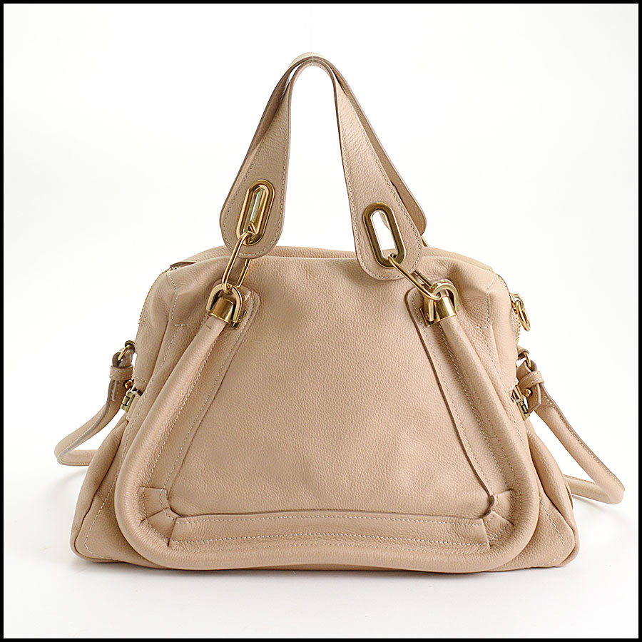 RDC10556 Chloe Beige Leather Medium Paraty Bag w/Strap