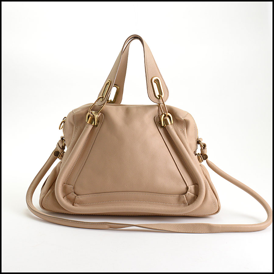 RDC10556 Chloe Beige Leather Medium Paraty Bag w/Strap back