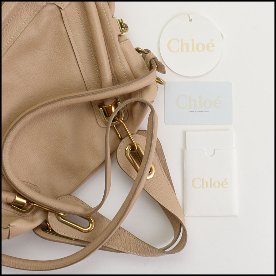 RDC10556 Chloe Beige Leather Medium Paraty Bag w/Strap includes