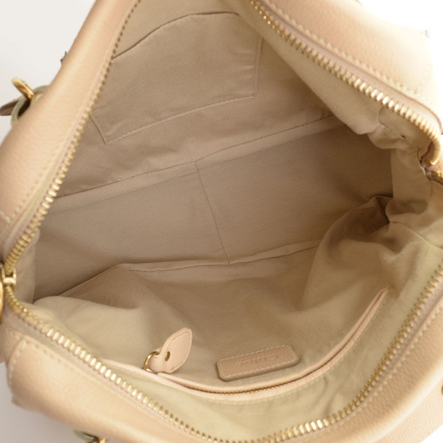 RDC10556 Chloe Beige Leather Medium Paraty Bag w/Strap inside