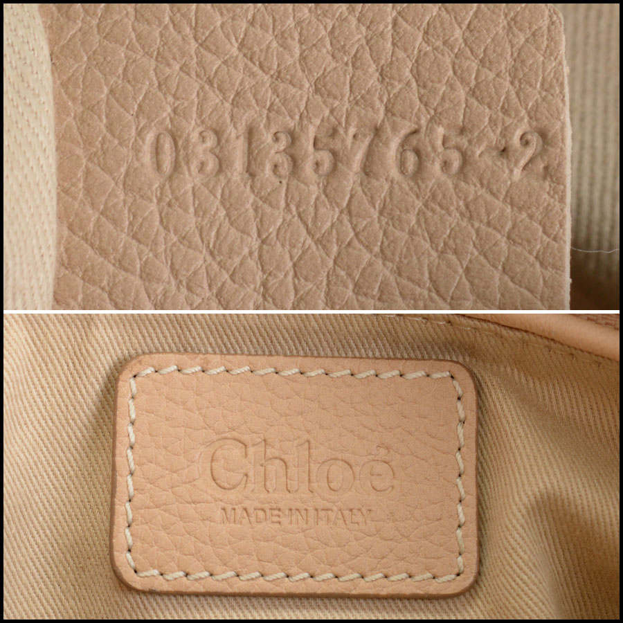 RDC10556 Chloe Beige Leather Medium Paraty Bag w/Strap tag 2