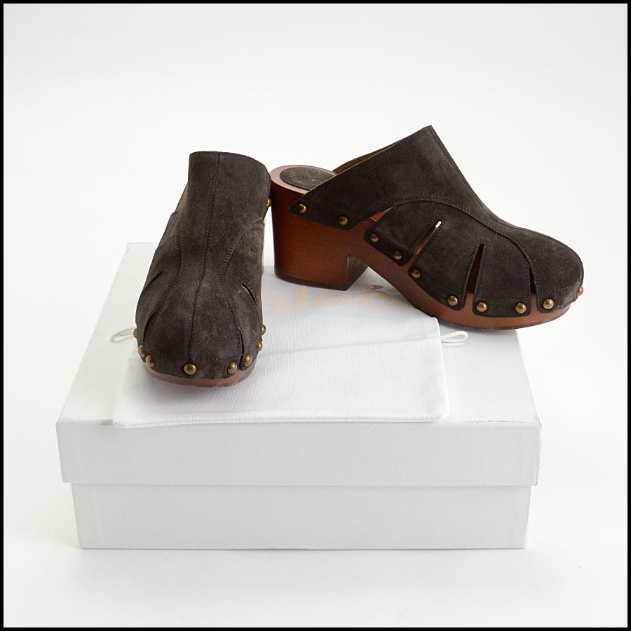 RDC11216 Chloe Charcoal Suede Quinty Clogs Size 39