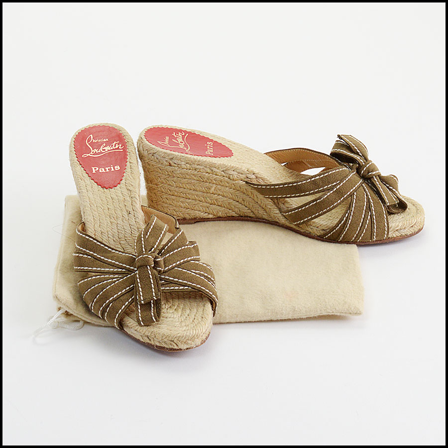 RDC11084 Christian Louboutin Olive Suede Bow Espadrilles Size 39