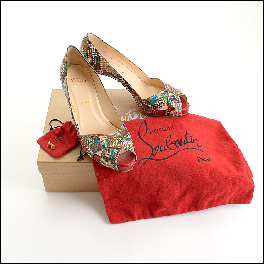 RDC10972 Christian Louboutin Multicolor Python Carnavel Heels includes