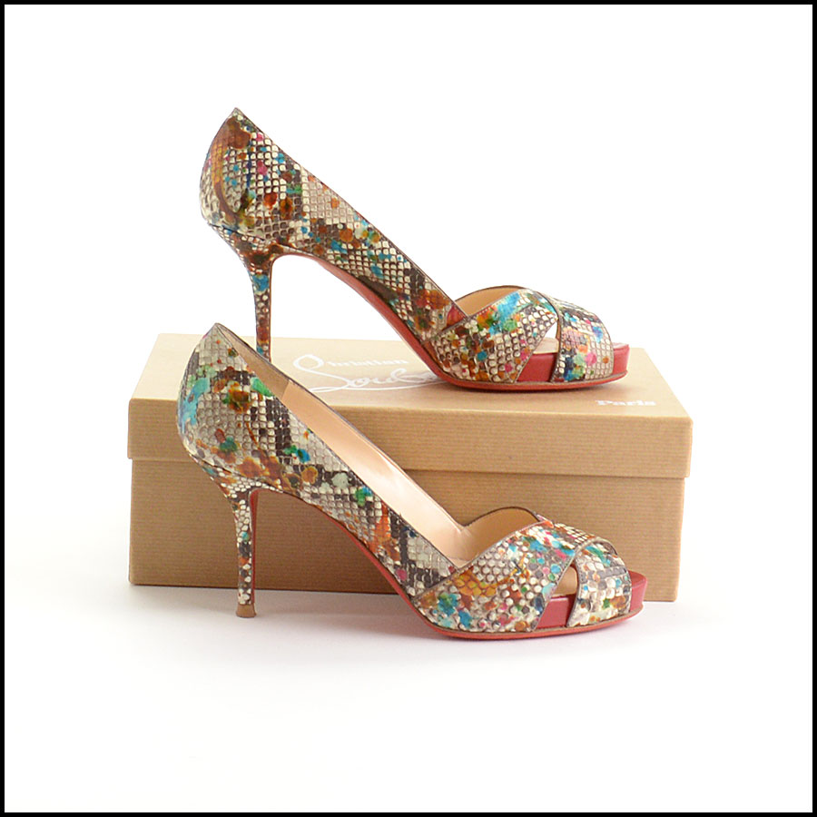 RDC10972 Christian Louboutin Multicolor Python Carnavel Heels side