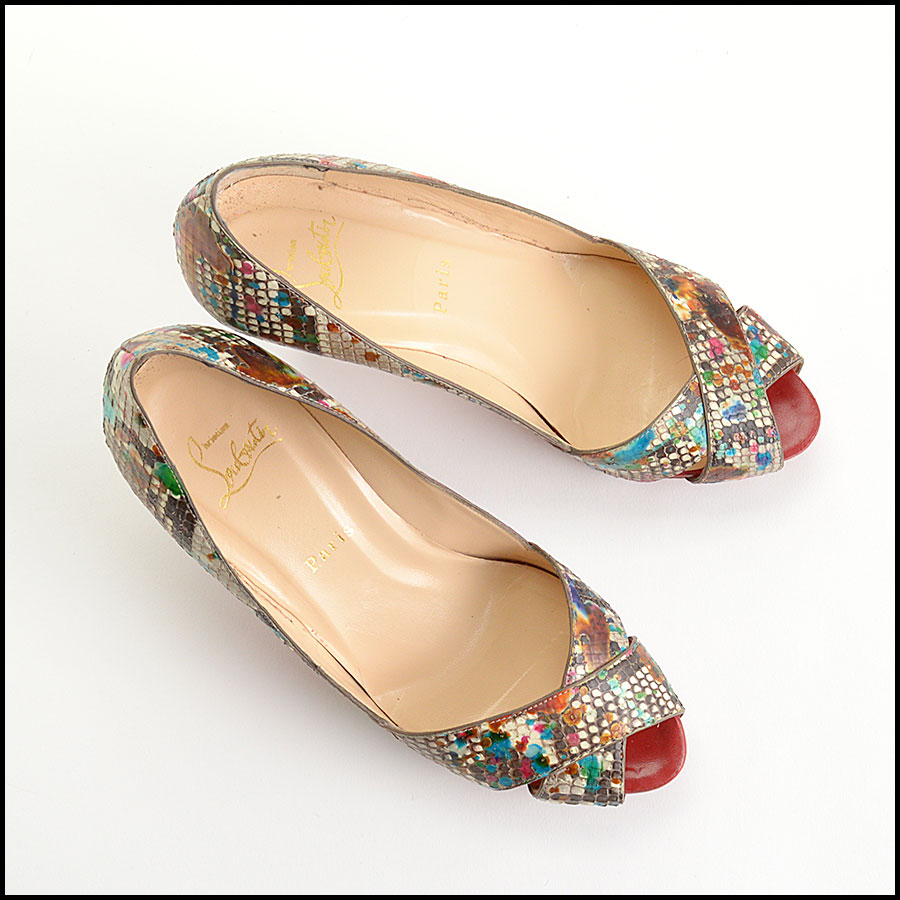 RDC10972 Christian Louboutin Multicolor Python Carnavel Heels top