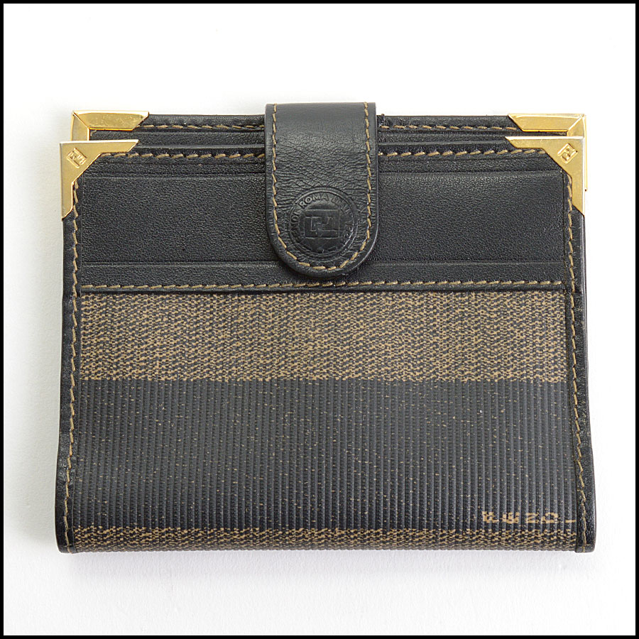 RDC10870 Fendi Vintage Pequin Striped Coated Canvas card Wallet