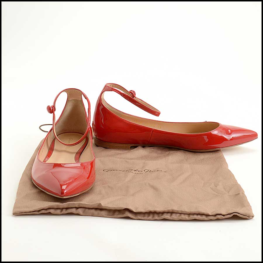 RDC11607 Gianvito Rossi Red Patent Ankle Flats Size 39