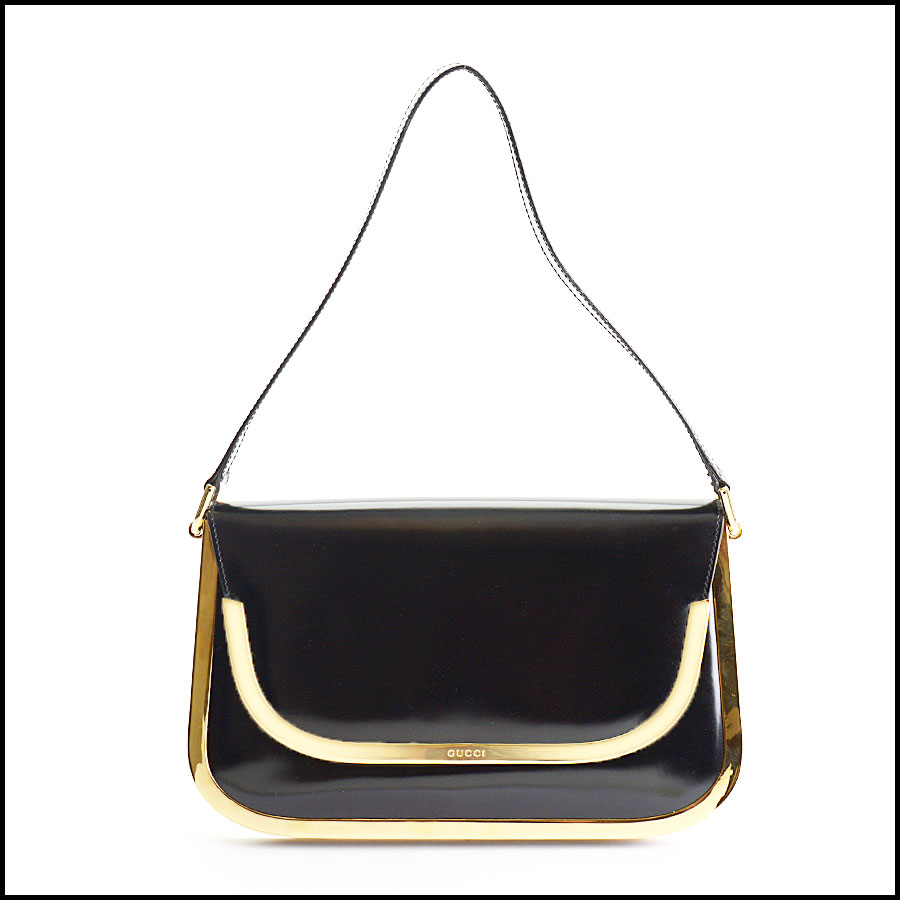 RDC10509 Gucci Black Vintage Brass Trim Leather Handbag