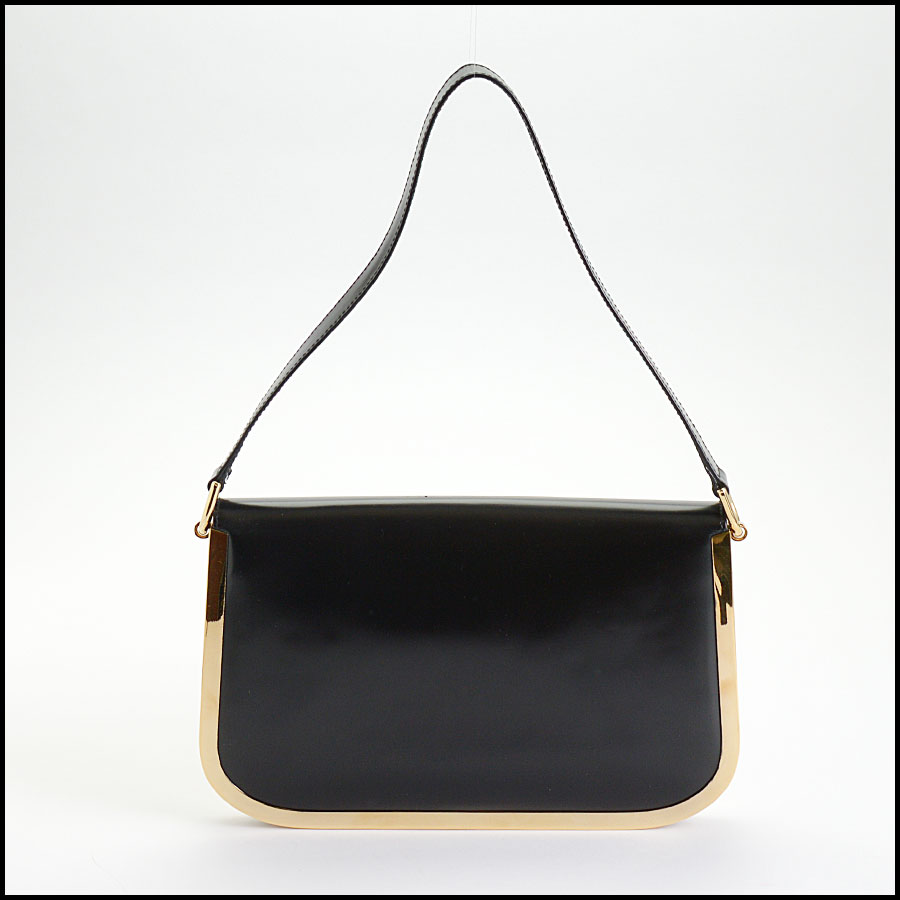 RDC10509 Gucci Black Vintage Brass Trim Leather Handbag back