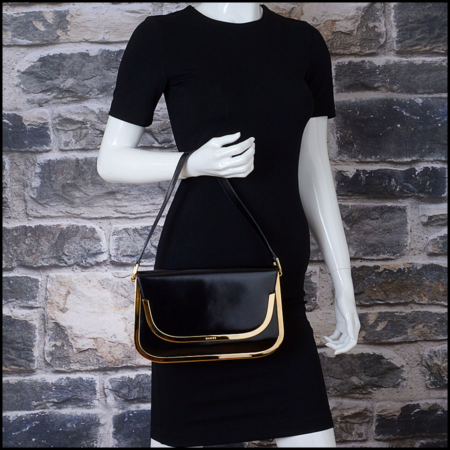 RDC10509 Gucci Black Vintage Brass Trim Leather Handbag model