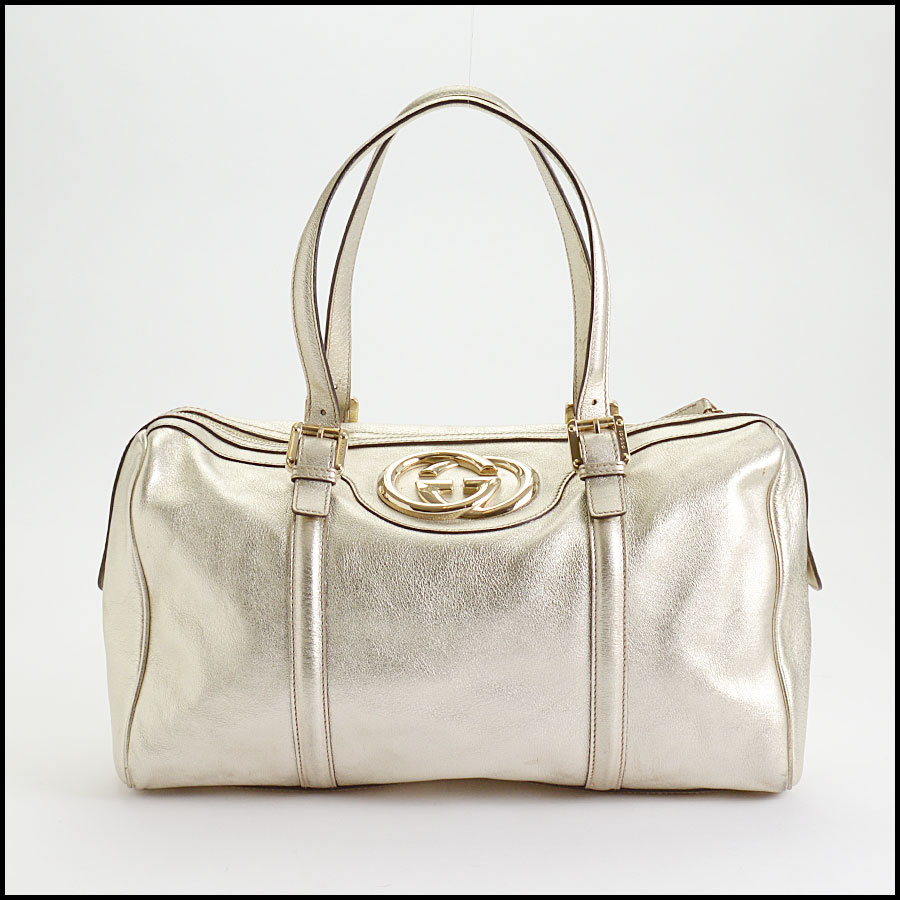 RDC10497 Gucci Gold Leather Britt Boston Satchel