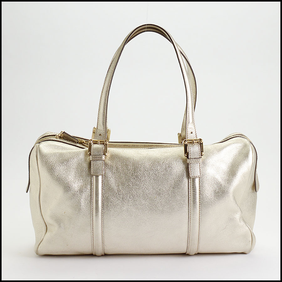 RDC10497 Gucci Gold Leather Britt Boston Satchel back