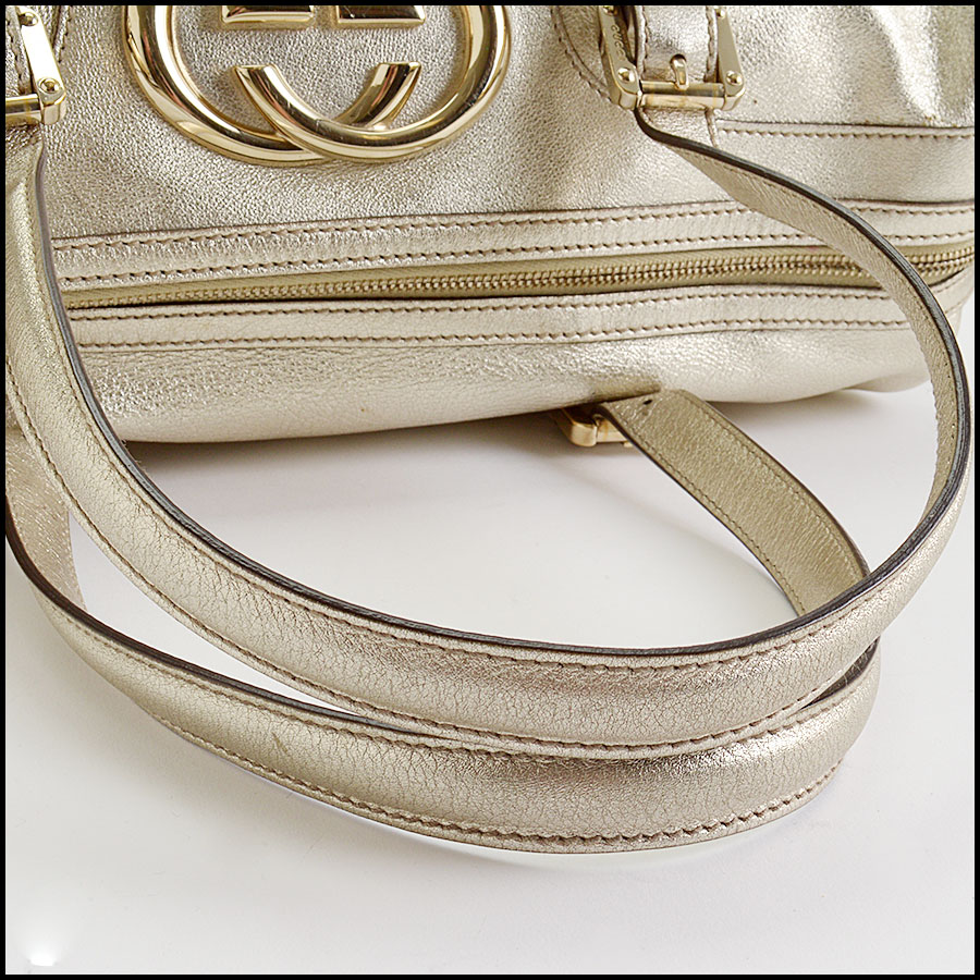 RDC10497 Gucci Gold Leather Britt Boston Satchel handle