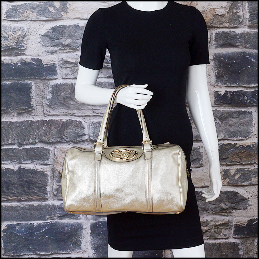 RDC10497 Gucci Gold Leather Britt Boston Satchel model