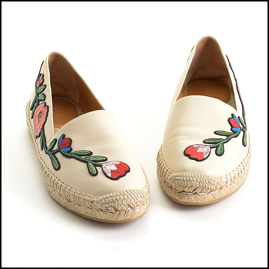 RDC10544 Gucci Embroidered Leather Charlotte Espadrilles