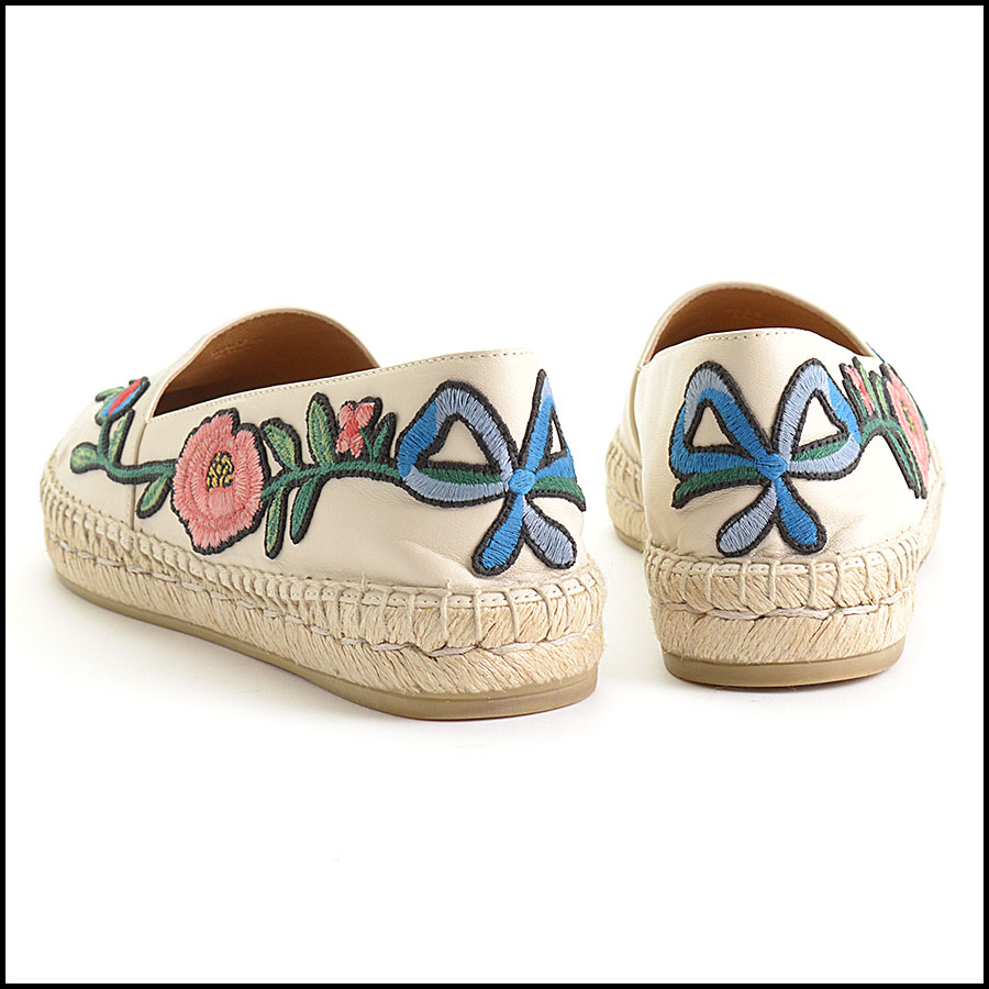 RDC10544 Gucci Embroidered Leather Charlotte Espadrilles back