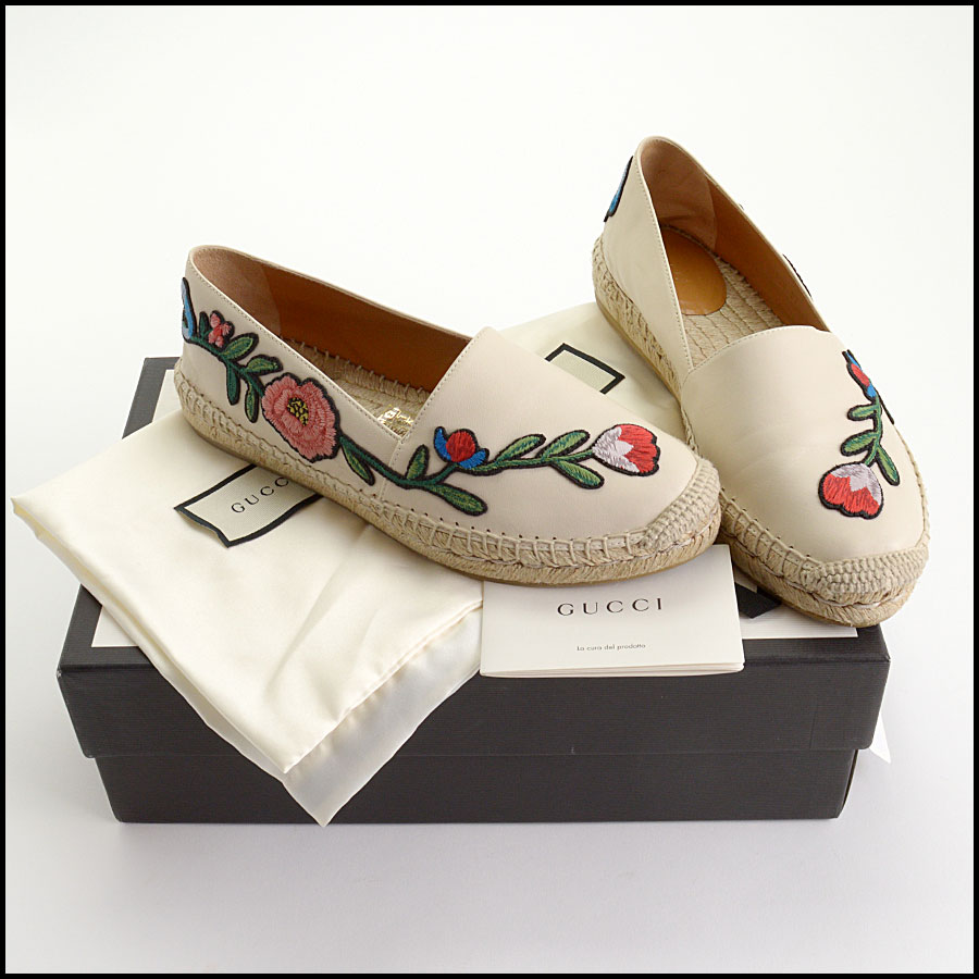 RDC10544 Gucci Embroidered Leather Charlotte Espadrilles includes