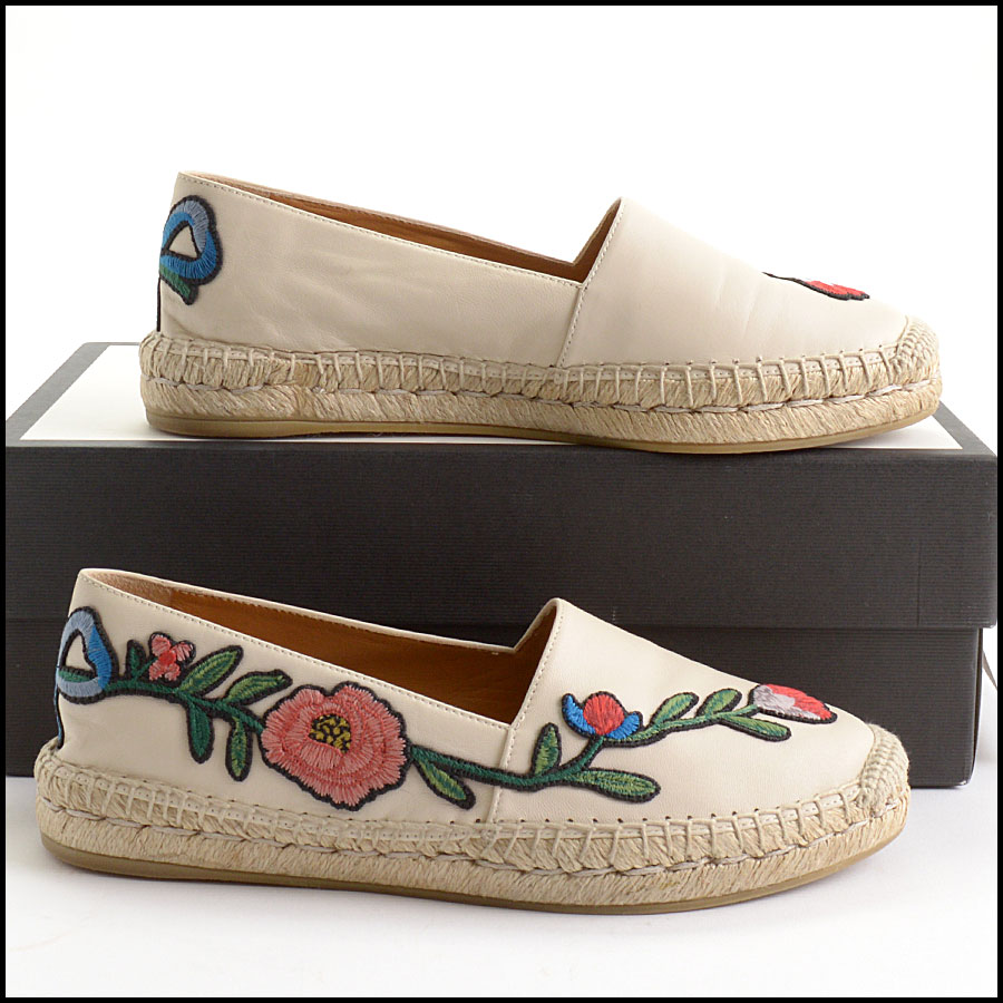 RDC10544 Gucci Embroidered Leather Charlotte Espadrilles side