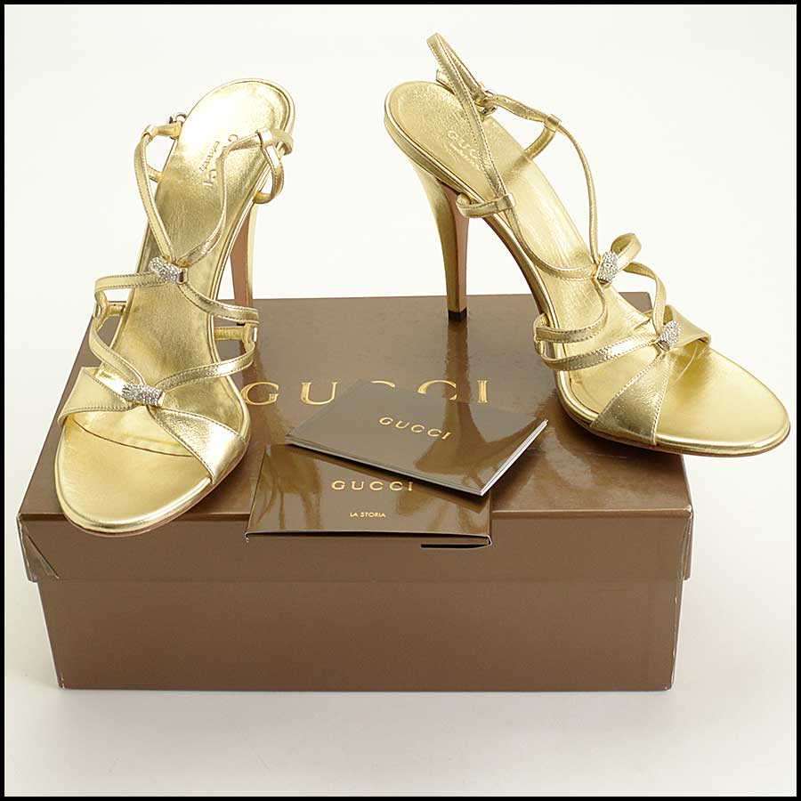 RDC11537 Gucci Gold Milady High Heel Sandals Size 9.5 includes