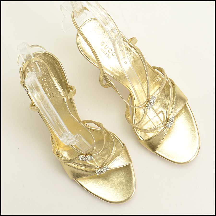 RDC11537 Gucci Gold Milady High Heel Sandals Size 9.5 top