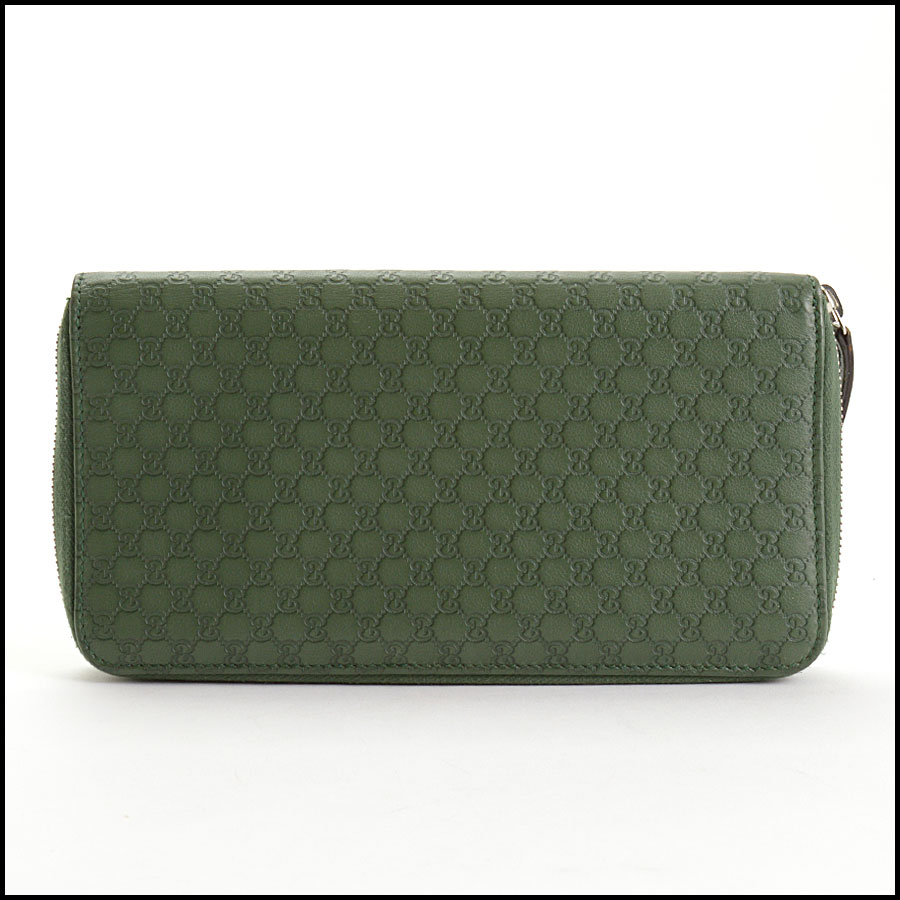 RDC10865 Gucci Green Leather Long Zip Wallet