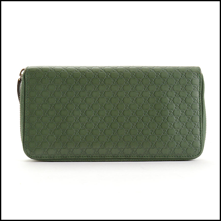 RDC10865 Gucci Green Leather Long Zip Wallet back