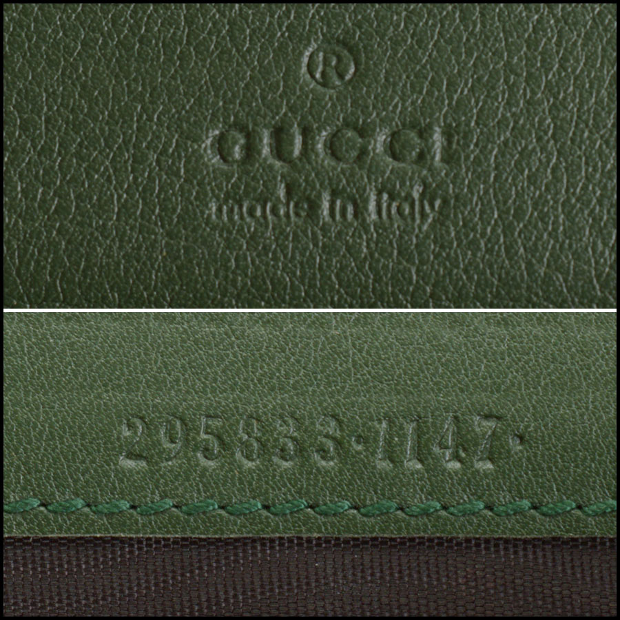 RDC10865 Gucci Green Leather Long Zip Wallet tag