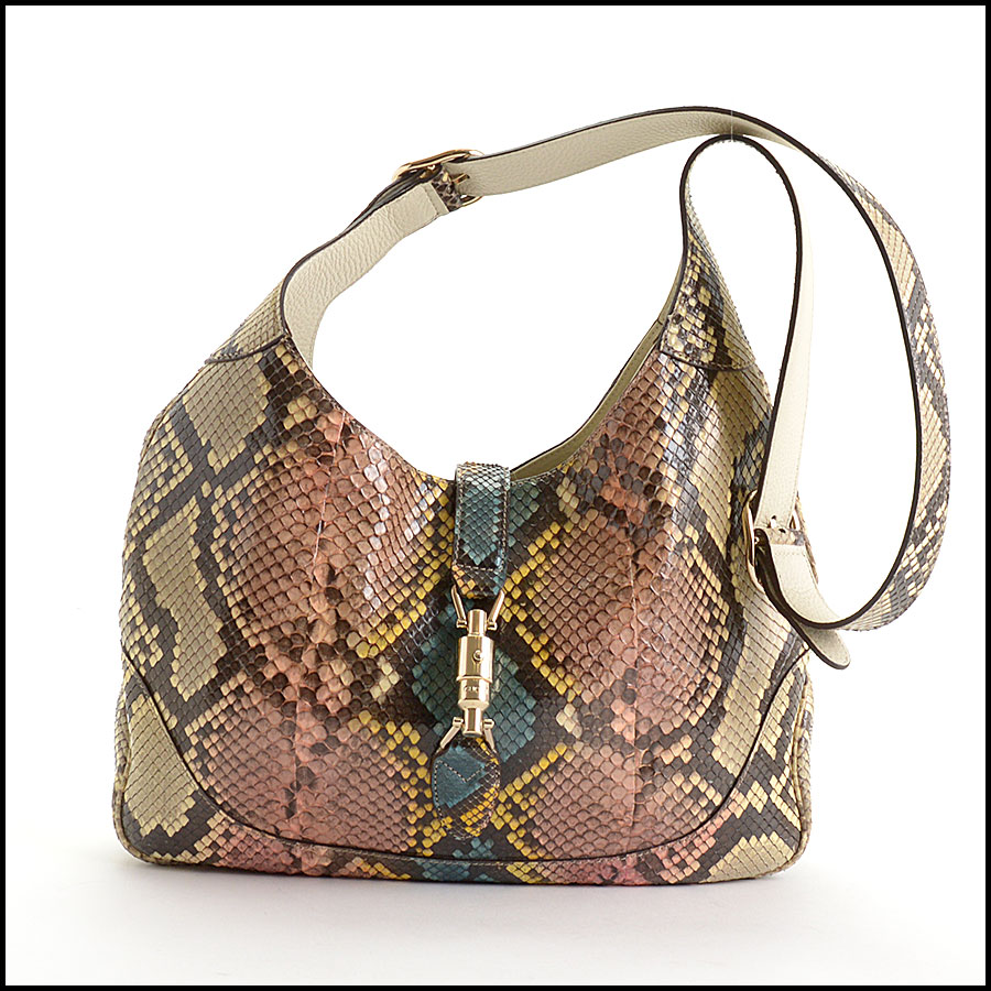 RDC10869 Gucci 2014 Multicolor Python Jackie Hobo Bag