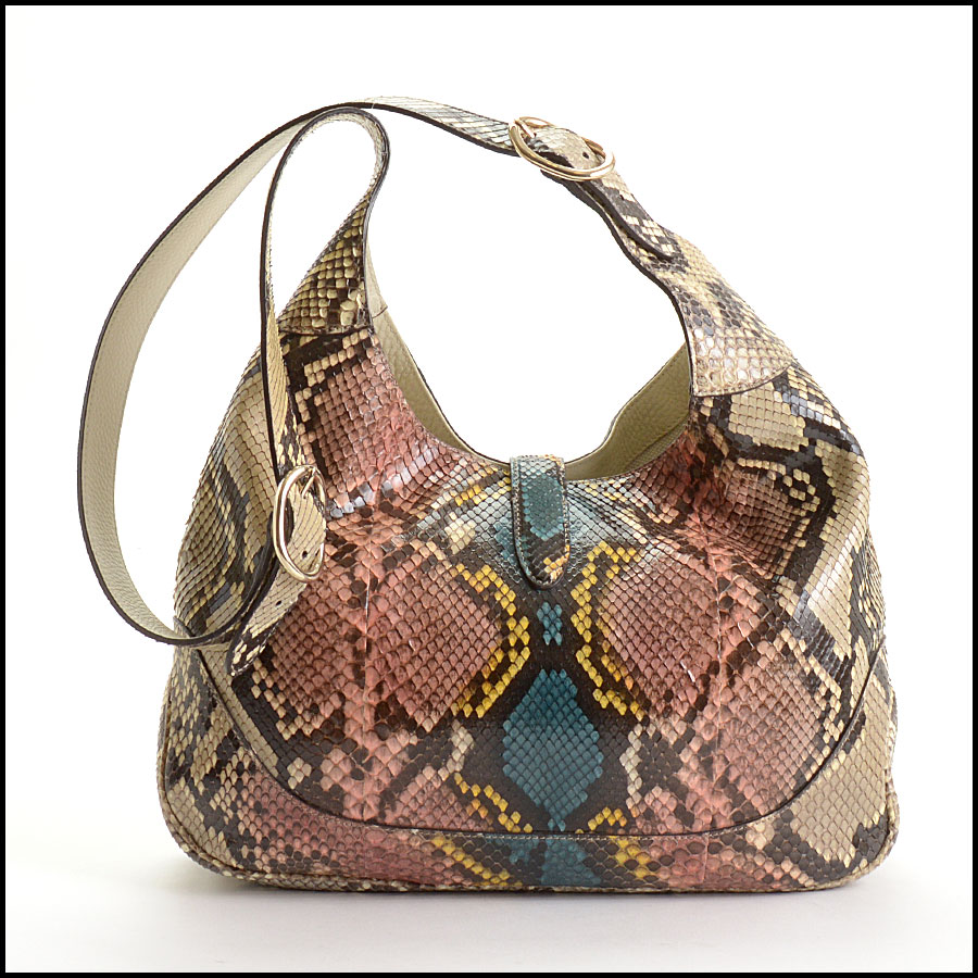 RDC10869 Gucci 2014 Multicolor Python Jackie Hobo Bag back