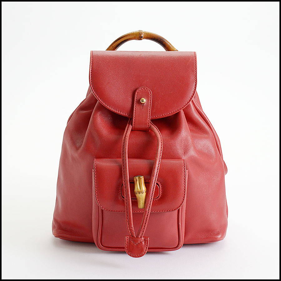 RDC10505 Gucci Red Leather Bamboo Handle Backpack