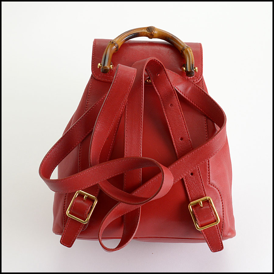 RDC10505 Gucci Red Leather Bamboo Handle Backpack back