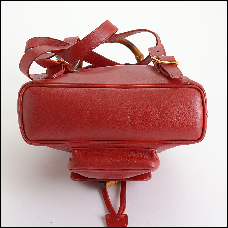 RDC10505 Gucci Red Leather Bamboo Handle Backpack bottom