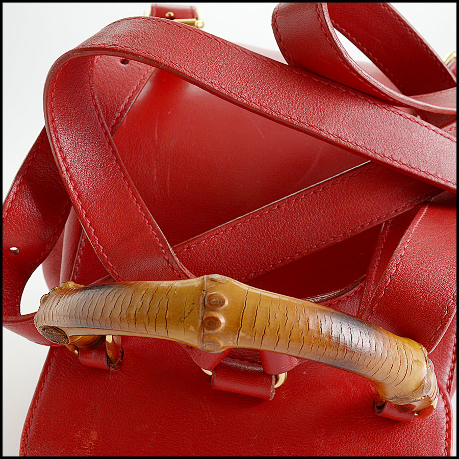RDC10505 Gucci Red Leather Bamboo Handle Backpack handle