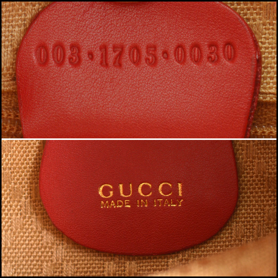 RDC10505 Gucci Red Leather Bamboo Handle Backpack tag