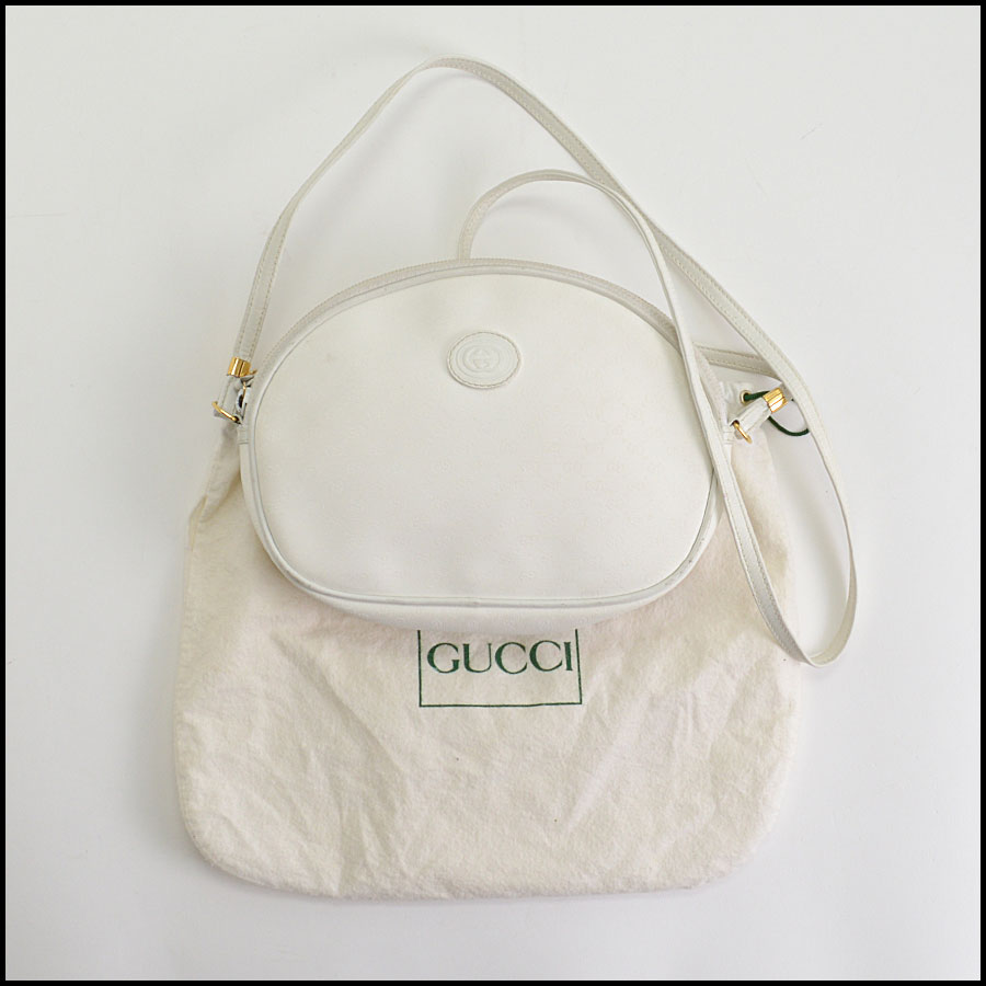 RDC10358 Gucci Vintage White Coated Canvas Crossbody
