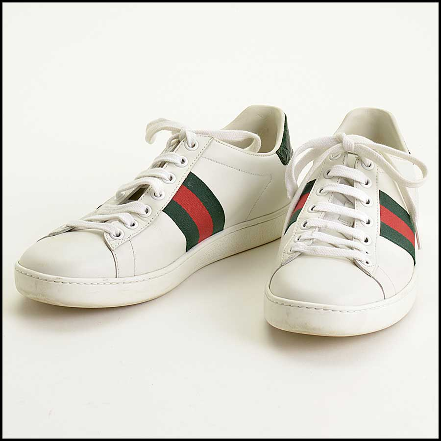 RDC11389 Gucci White Leather Ace Sneakers Size 37