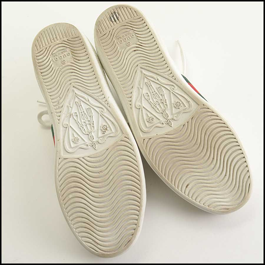 RDC11389 Gucci White Leather Ace Sneakers Size 37 bottom