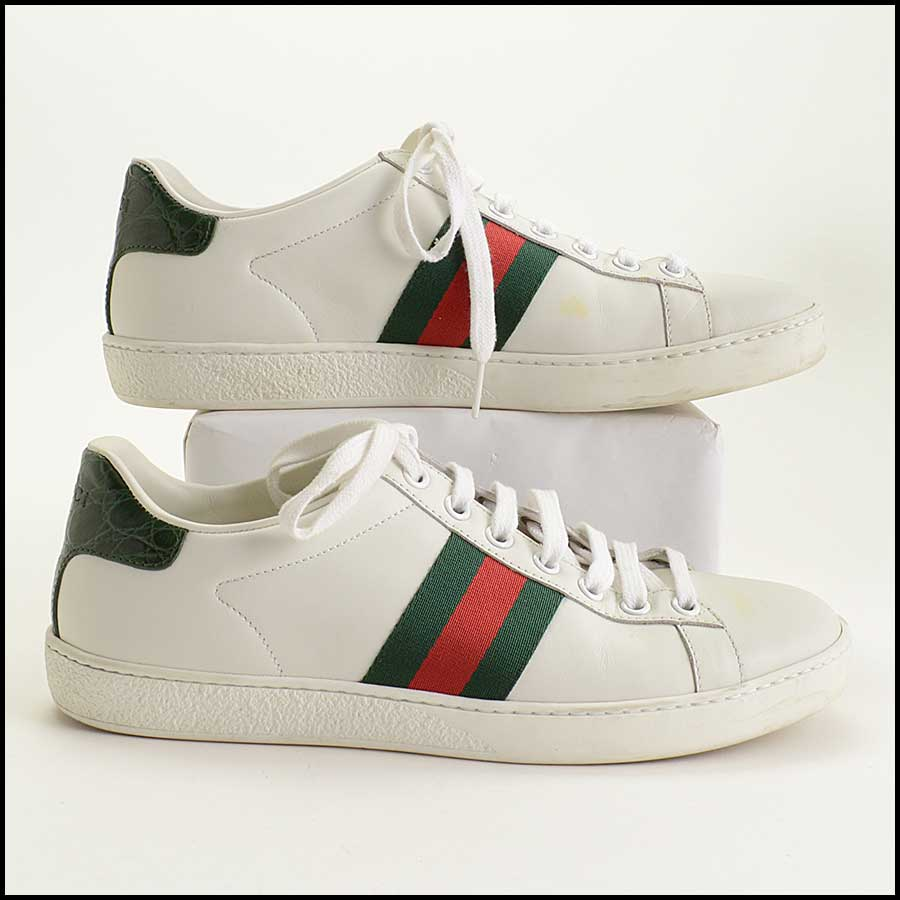 RDC11389 Gucci White Leather Ace Sneakers Size 37 side
