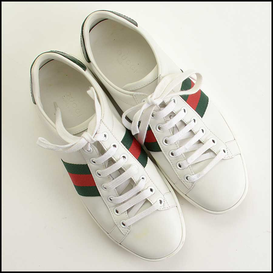 RDC11389 Gucci White Leather Ace Sneakers Size 37 top